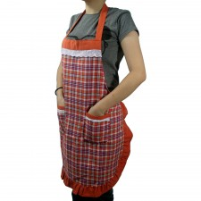 Checked Cotton Apron with Pocket - Orange