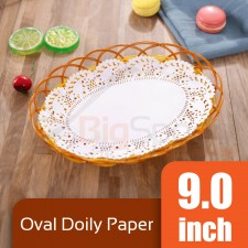 Oval Doily Paper 9.0 inch White (Approx 250 pcs)