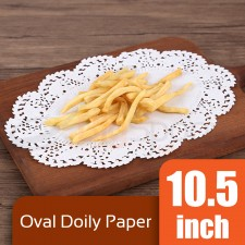 Oval Doily Paper 10.5 inch White (Approx 250 pcs)