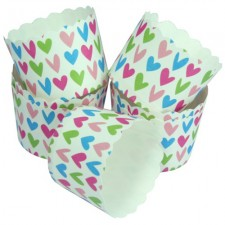 Colourful Heart Muffin Cups (50pcs)