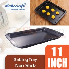 BAKECRAFT 11 Inch Non-Stick Baking Tray Carbon Steel With High Quality Baking Bread Cake Cookies Pan Rectangle Pizza Pan Bakery Oven Tools and Bakeware Accessories Cookies Trays