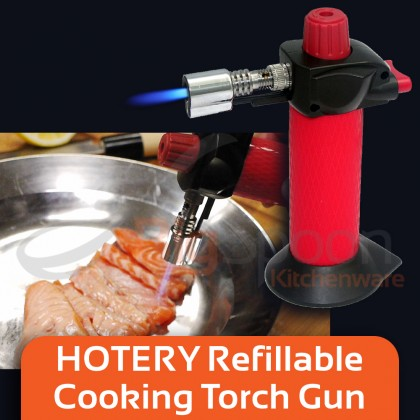 HOTERY Mini Gas Torch Lighter Fire Torch Gun Blow Torch Lighter Refillable Lighter Gun Flamethrower Flame Torch Blow Torch Cooking Baking