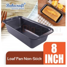 BAKECRAFT 8 Inch Non-Stick Loaf Pan Toaster Pan Bakeware Rectangle Carbon Steel Bread Baking Mould Cake Make Mold Baking Tools And Accessories With Easy Grip Handle