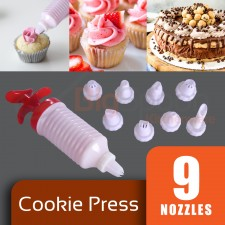 Dessert Cup Cake Cookie Decorating Kit Icing Piping Syringe Press With 9 Pcs Nozzles Tools Set