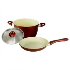 [Set of 2] Ceramic Coating Frying Pan 28cm + Casserole 24cm Set