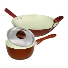 [Set of 2] Ceramic Coating Stir Wok 14 inch + Sauce Pan 18cm Set
