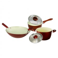 [Set of 3] Ceramic Coating Stir Wok 14 inch + Sauce Pan 20cm + Casserole 24cm Set