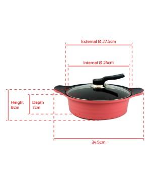 [Set of 4] BAUER Sauce Pan 18cm + Sauce Pot 20cm + Casserole 24cm + Stew Pot 24cm