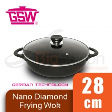 GSW Nano Diamond Frying Wok Double Handle with Glass Lid 28cm