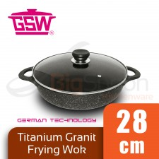GSW Titanium Granit FerroTherm Frying Wok Double Handle with Glass Lid 28cm