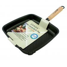 Grill Pan Non-Stick with Wooden Handle
