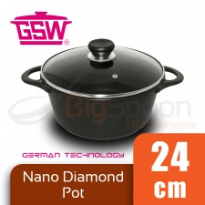 GSW Nano Diamond Pot with Glass Lid 24cm