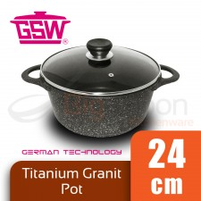GSW Titanium Granit FerroTherm Pot with Glass Lid 24cm