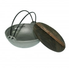 Cast Iron Shabu Shabu Pot  With Wooden Cover - 18cm