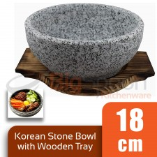 BIGSPOON Traditional Korean Stone Bowl 18cm Serving Bowl with Wooden Tray Serveware