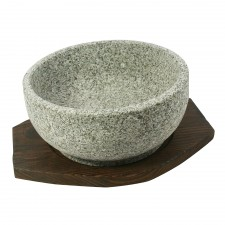 Traditional Korean Stone Bowl with Tray - 20cm