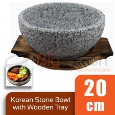 BIGSPOON Traditional Korean Stone Bowl 20cm Serving Bowl with Wooden Tray Serveware