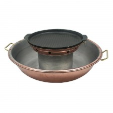 Bronze Steamboat Pot with Grill Plate 36cm