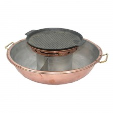 Bronze Steamboat Pot Grill Plate with Divider 36cm