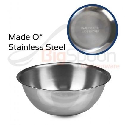 BIGSPOON Korea Stainless Steel Mixing Bowl Metal Bowl 15.5cm-47cm 0.75QT-20QT Multipurpose Salad Bowl for Mixing Egg Dough