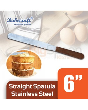BAKECRAFT 6 inch Stainless Steel Spatula Kitchen Tool Wooden Handle Cake Spatula Cake Decorating Tool