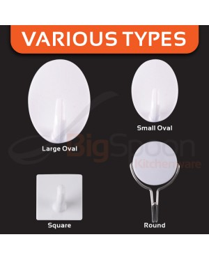 Bigspoon 2 Pcs Set Large Oval Hooks Seamless Adhesive Hook
