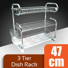 HOMSUIT 3 Tier Dish Rack Stainless Steel Kitchen Dish Rack Dish Drainer Rack Stainless Steel Kitchen Rack with Removable Trays Plate Storage Plate Organizer Utensil Storage Utensil Holder Cutlery Holder Rak Pinggan Steel
