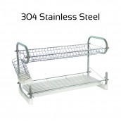 304 Stainless Steel 2 Tiers Two Layer Dish Rack Drainer Kitchen Organizer Storage Organiser Shelf with Tray and Utensil Cutlery Holder 22 inch