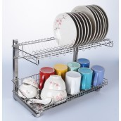 304 Stainless Steel 2 Tiers Two Layer Dish Rack Drainer Kitchen Organizer Storage Organiser Shelf with Tray