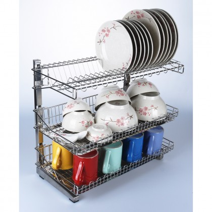 BIGSPOON 3 Tier Dish Rack Stainless Steel Kitchen Dish Rack Dish Drainer Rack Stainless Steel Kitchen Rack with 2 Removable Trays Plate Storage Plate Organizer Rak Pinggan Steel