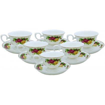 12 PCS Vintage Roses Cup & Saucer Set
