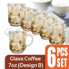 6in1 - High Quality Glass Coffee Cup with Printed Coffee Design Tea Mug with Handle Flower Tea Mug Chinese Tea Mug Milk Cup Juice Cup 6pcs Set 200ml – Design B