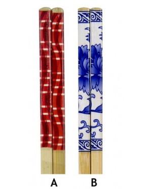 10 Pairs Printed Bamboo Chopsticks - Design B