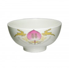 Porcelain Bowl 4.5 inch Double Happiness 6 PCS Set