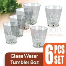 Glass Water Tumbler 8oz 6 PCS Set