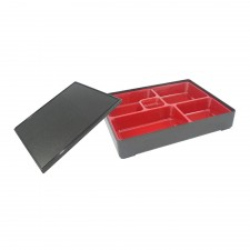 Japanese PC Polycarbonate Bento Box 5 Compartments with Lid 27cm x 21cm x 5.5cm - Small