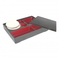 Japanese Bento Box 6 Compartments with Bowl and Lid 30cm x 24cm x 5.5cm