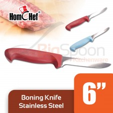 HOMCHEF Boning Knife Stainless Steel With Plastic Handle 6 inch - Red