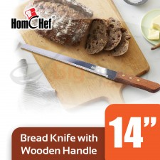 HOMCHEF Bread Knife With Wooden Handle - 14 inch