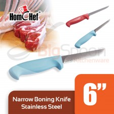 HOMCHEF Narrow Boning Knife Stainless Steel With Plastic Handle 6 inch - Blue