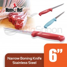 HOMCHEF Narrow Boning Knife Stainless Steel With Plastic Handle 6 inch - Red