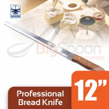 NIKKEN Professional Bread Knife With Wooden Handle - 12 inch