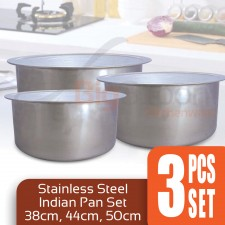 3-Pcs Set Stainless Steel Cooking Pot Set 38cm 44cm 50cm Indian Pan Set Indian Pot Stock Pot Set