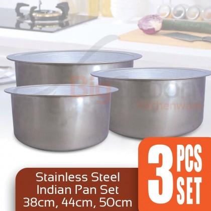 BIGSPOON 3-Pcs Cooking Pot Set Periuk Set Soup Pot Extra Large 38cm 44cm 50cm Stainless Steel Cookware Set Indian Curry Sauce Pan 钢锅汤锅