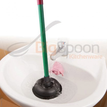 BIGSPOON Toilet Plunger Sink Suction Pump Floor Drain Clog Remover Rubber Suction Cup Plastic Handle - 4inch [404]
