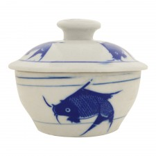 Chicken Pot with Cover Blue Fish No.4 [C203-F4]