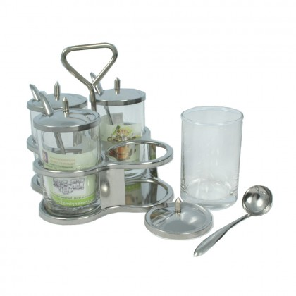 Anchor Stainless Thailand Condiment Caddy Glass 5-PCS set [1075]