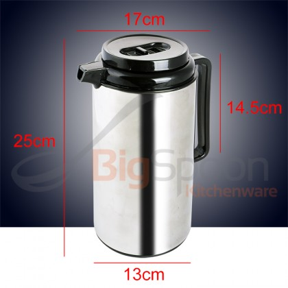 BIGSPOON 1L Hot Water Vacuum Flask Glass Inner Double Wall Stainless Steel Insulated Thermos Pot Dispenser [2006B-10]