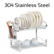 304 Stainless Steel 2 Tiers Two Layer Dish Rack Drainer Kitchen Organizer Storage Organiser Shelf with Tray and Utensil Cutlery Holder 16 inch