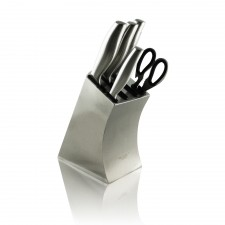 Exclusive 7-Piece Luxury Stainless Steel Knife Block Set Shear Sharpener Stand [KBS7-B]